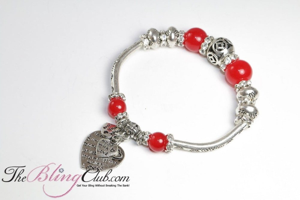 Bling Red stretch pandora heart bracelet