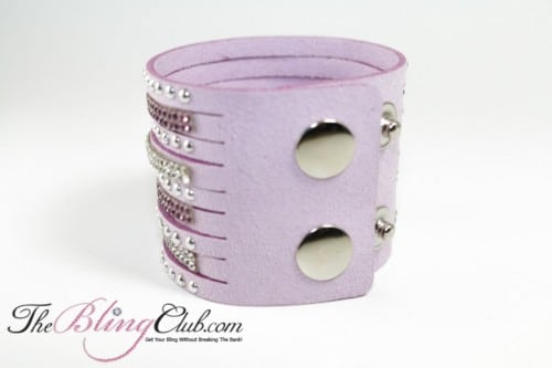 The Bling Club crystals and studs cuff bracelet mauve