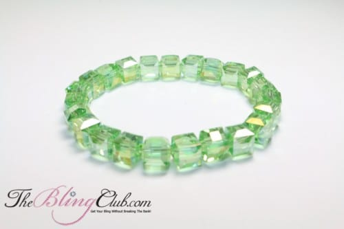 The Bling Club light green stretch square faceted bracelet