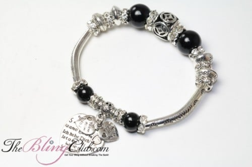 black silver stretch heart pandora bling bracelet