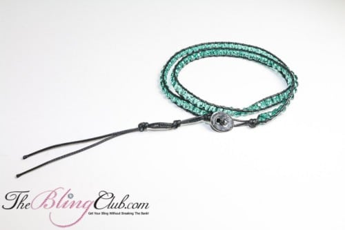bling green crystal shamballa adjustable bracelet