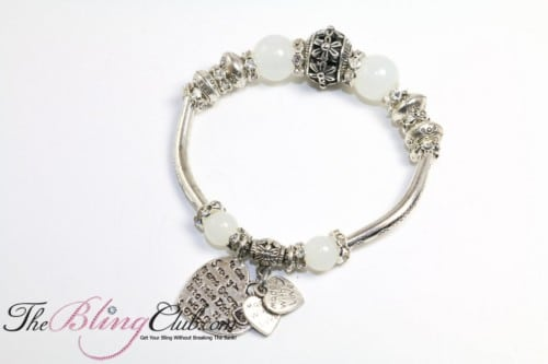 bling white stretch pandora charm heart bracelet
