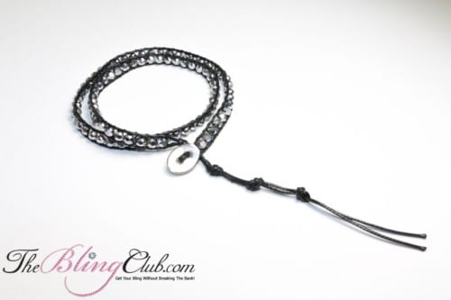 silver BLING crystal adjustable Shamballa style bracelet