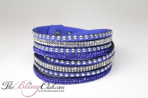 the bling club royal blue vegan leather swarovski crystals studs wrap bracelet