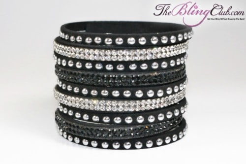 theblingclub.com black vegan leather swarovski cuff with crystals and studs