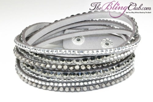 theblingclub.com full crystal grey vegan leather swarovski wrap bracelet
