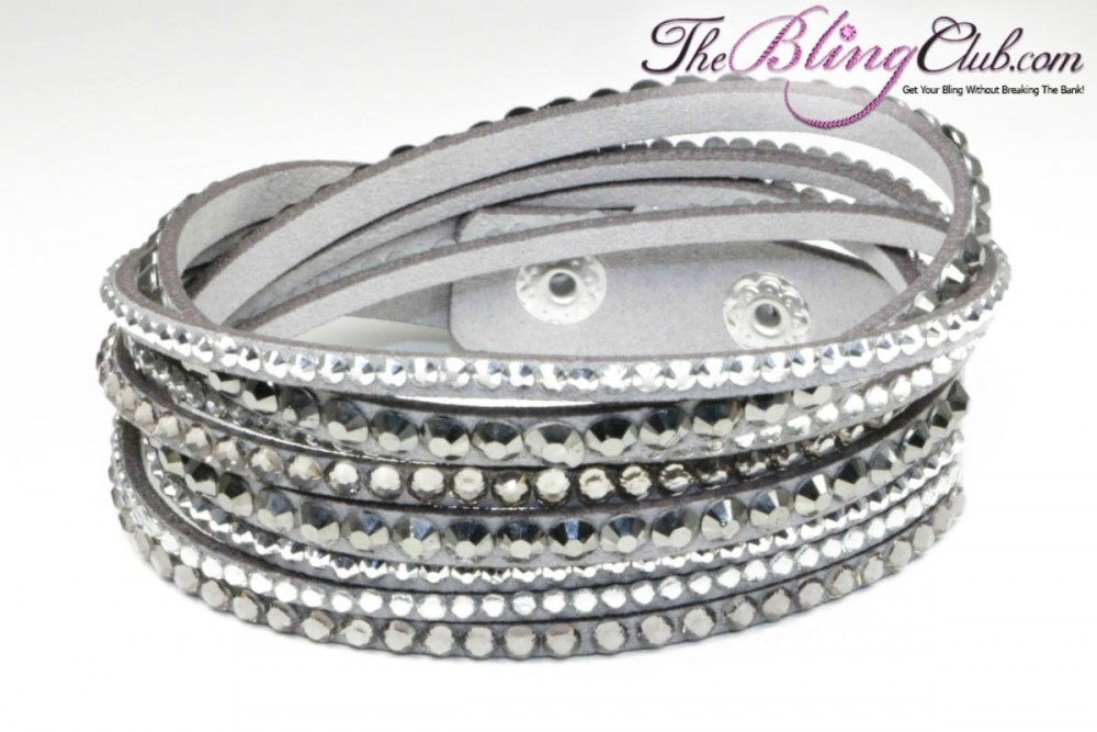 Grey Vegan Leather Bling Crystal Wrap Bracelet