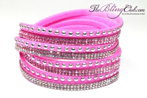 theblingclub-com-hot-pink-vegan-leather-swarovski-wrap-crystal-bracelet-silver-studs