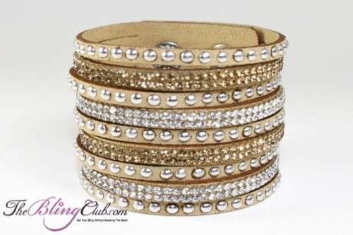 theblingclub.com tan vegan leather swarovski crystal cuff crystals and studs