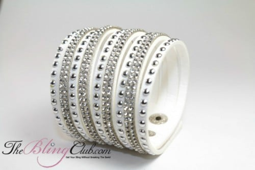 white cuff crystal studs bracelet theblingclub