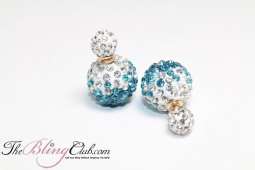 ocean turquoise blue stud shamballa crystal bling earrings