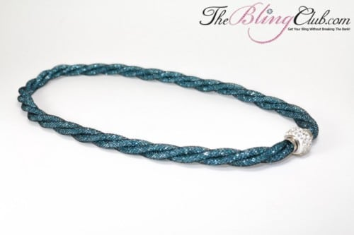 stardust teal mesh clear crystal necklace magnetic clasp The Bling Club