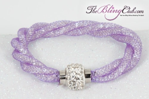 the-bling-club-stardust-magnetic-bracelet-clear-mesh-lavender-purple-swarovski-crystals