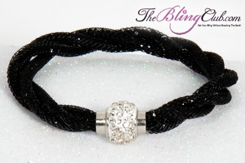 Theblingclub Com Black Mesh Swarovski Crystal Magnetic