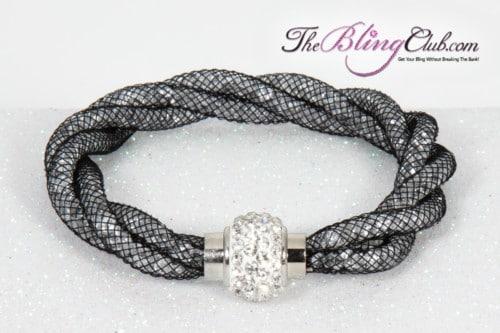 theblingclub-com-black-mesh-clear-swarovski-crystal-magnetic-bracelet