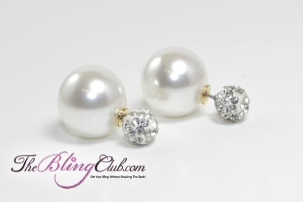 theblingclub.com white pearl shamballa crystal post earrings