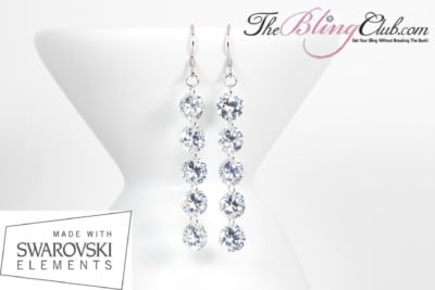 THEBLINGCLUB swarovski crystal 5 drop earrings