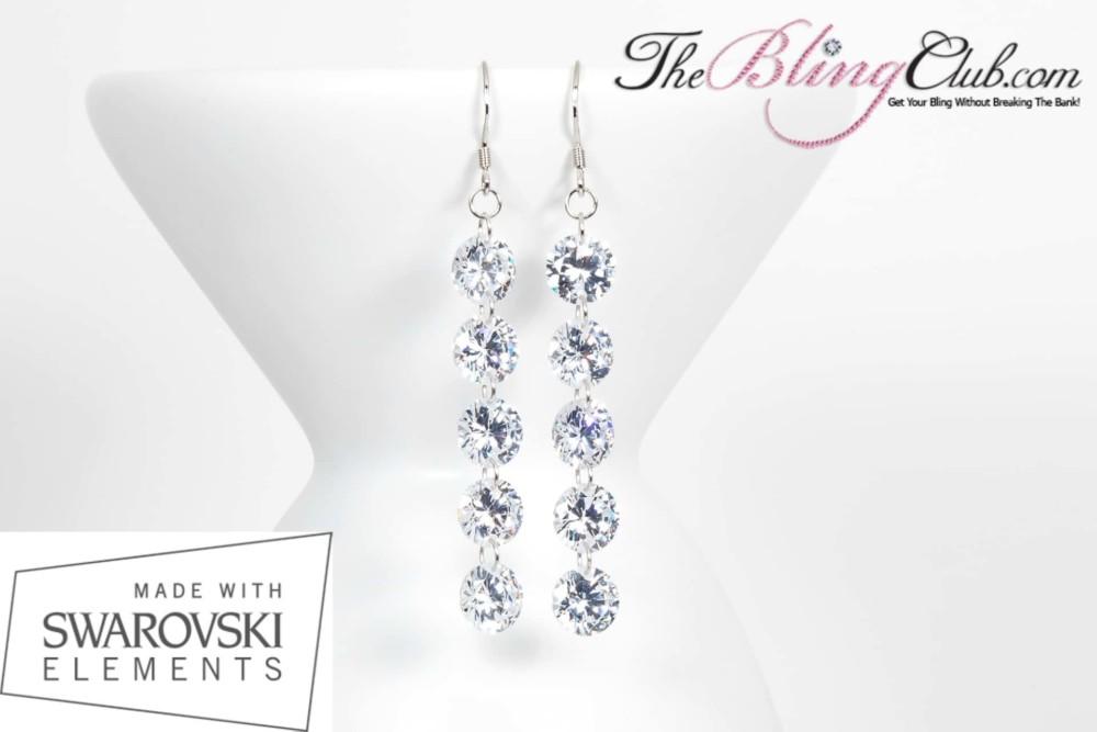 THEBLINGCLUB swarovski crystal 5 drop earrings