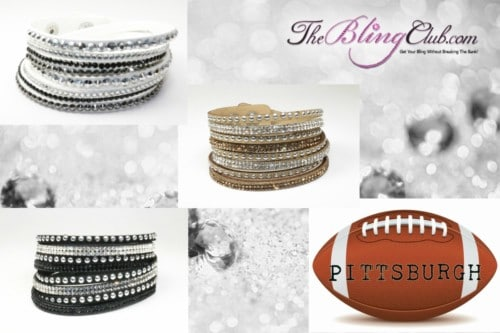 The Bling Club Pittsburgh Steelers NFL Football Vegan Leather swarovski Crystal Wrap Bracelet Trio
