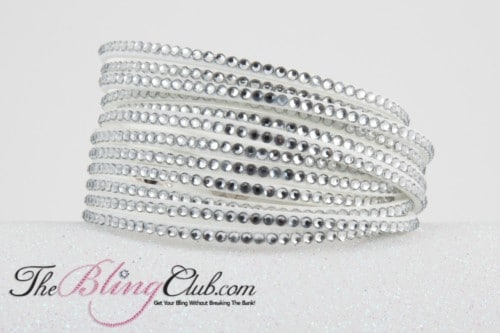 the bling club 12 layer vegan leather swarovski crystal wrap bracelet