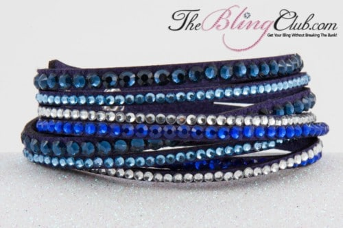 the bling club blue multi swarovski crystal vegan leather bracelet