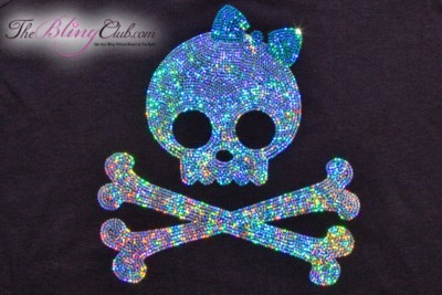 the bling club girly silver skull turqoise bow racerback tank