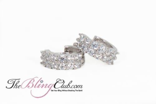 the bling club sterling silver platinum huggie crystal earrings