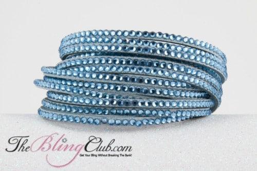 the bling club.com sky blue 12 layer vegan leather swarovski crystal wrap bracelet