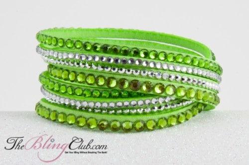 theblingclub.com 8 row lime green swarovski crystal vegan leather wrap bracelet