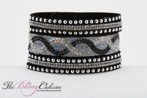 theblingclub.com vegan leather black cuff bracelet high fashion front