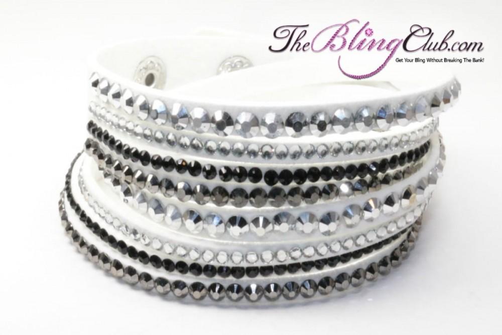 White Vegan Leather Crystal Bracelet