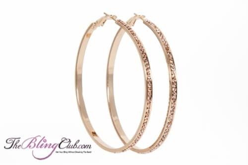 theblingclub.com gold with channel set champagne crystals outside hoop earrings