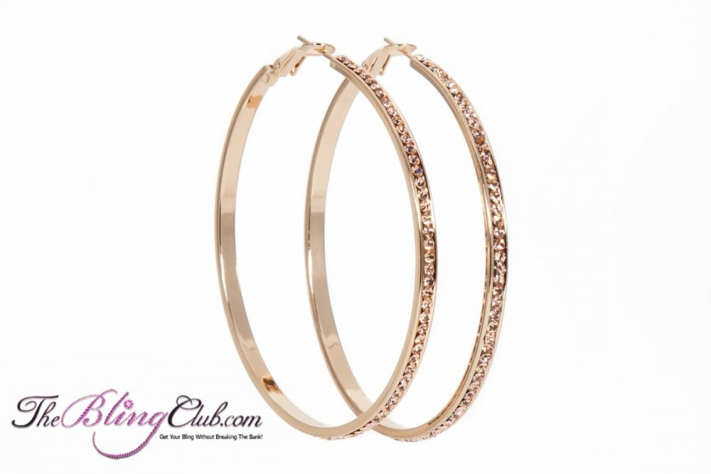 55mm Gold With Champagne Crystals Hoop Earrings