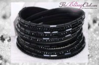 theblingclub.com super bling black crystal vegan leather swarovski wrap bracelet