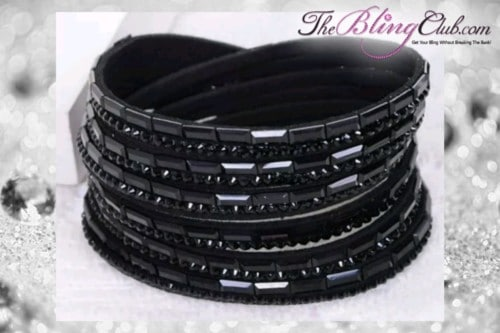 theblingclub.com super bling black crystal vegan leather swarovski wrap bracelet
