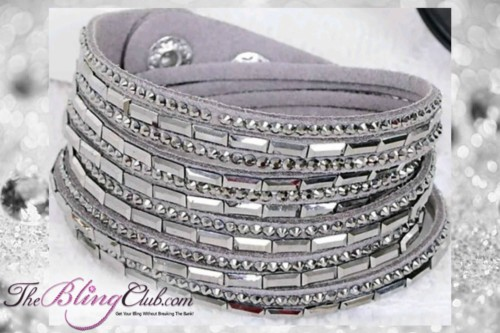 theblingclub.com super bling grey crystal vegan leather swarovski wrap bracelet