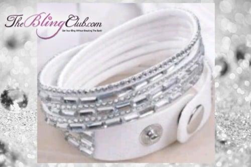 theblingclub.com super bling white crystal vegan leather swarovski wrap bracelet
