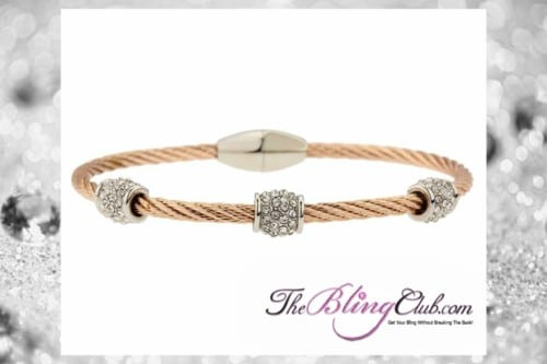 theblingclub.com rose gold crystal cable wire magnetic clasp bracelet