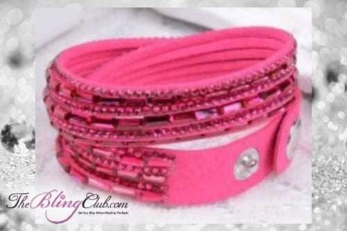 theblingclub.com super bling hot pink crystal vegan leather swarovski wrap bracelet