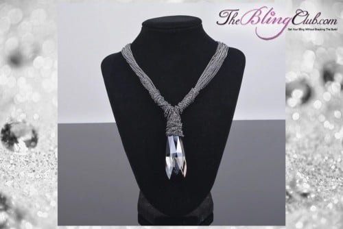 the bling club adjustable multi chain large swarovski crystal statement necklace front view