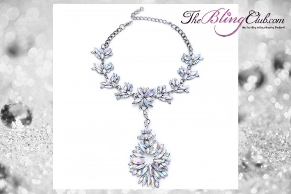 theblingclub.com black and white crystal swarovski antique vintage oval drop starburst convertible necklace