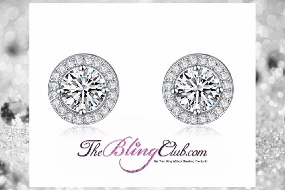 the bling club platinum plated cystal round circle stud earrings front view