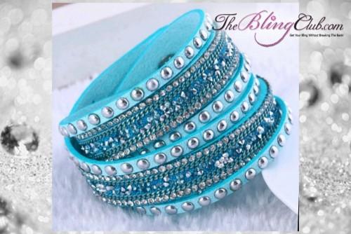 theblingclub.com rockstud aqua turqoise crystal wrap bracelet choker