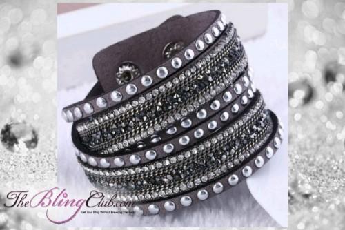 theblingclub.com rockstud grey silver crystal wrap bracelet choker