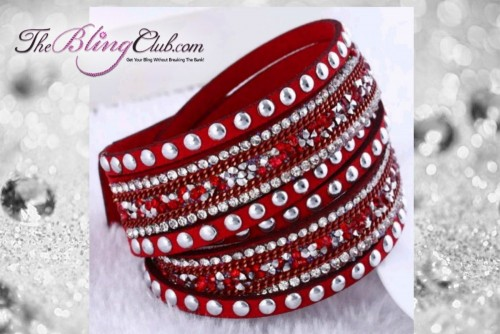 theblingclub.com rockstud red crystal wrap bracelet choker