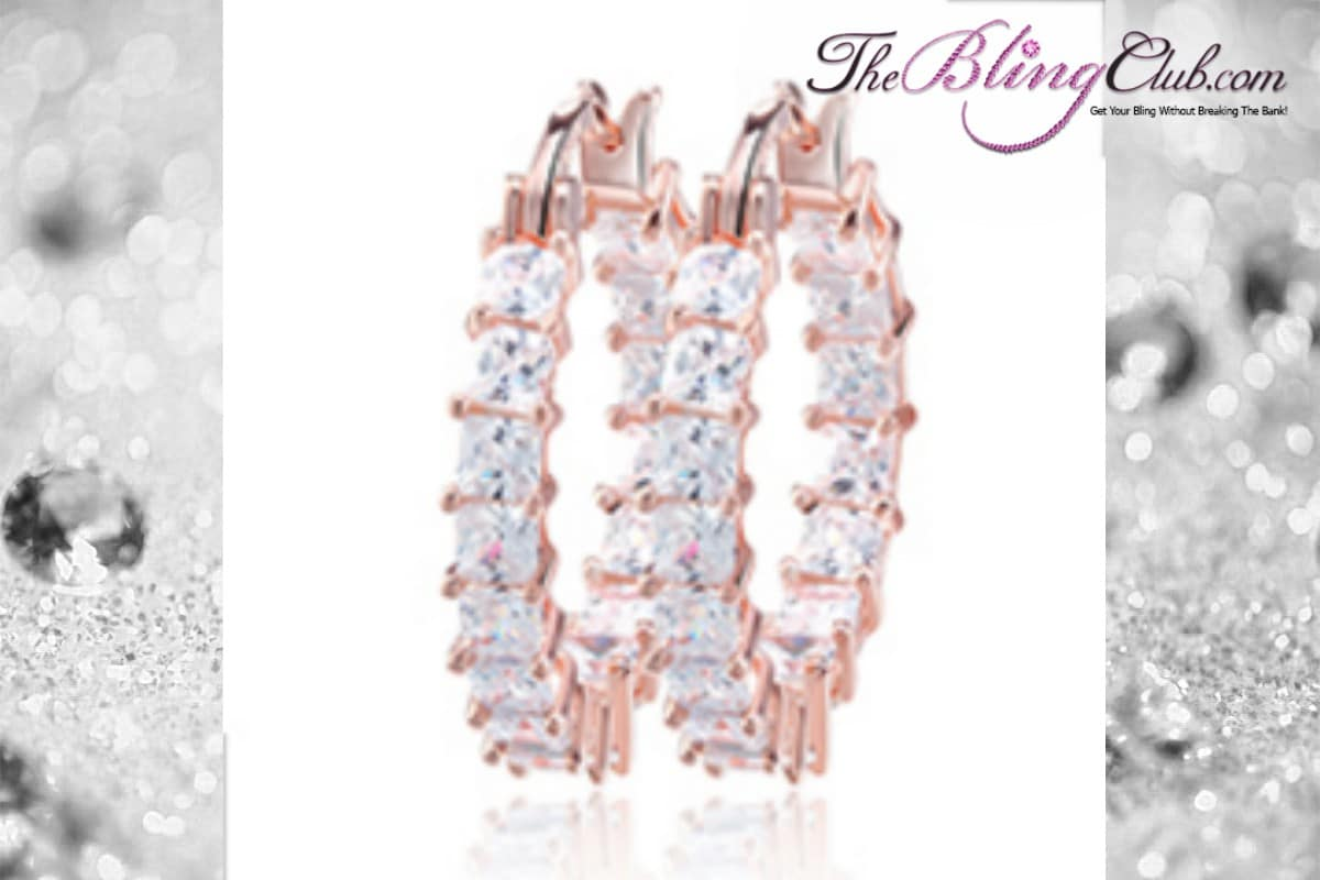 THEBLINGCLUB swarovski crystal inside outside clear rose gold hoop earrings