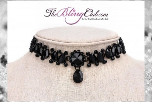 theblingclub.com black crystal luxury adjustable choker